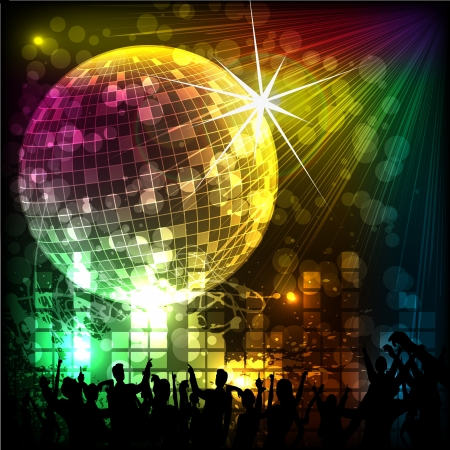discotheque: Crowd in Musical Background Illustration
