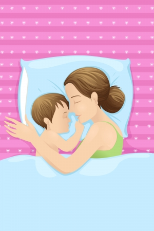 woman lying in bed: Mother Sleeping with Baby Illustration