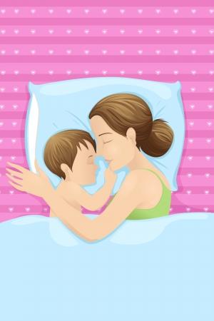 im bett liegen: Mutter mit Baby-Schlafsack