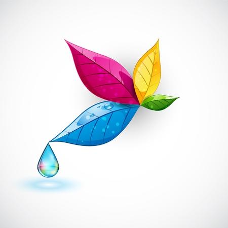 dew drop: Colorful Leaf Illustration
