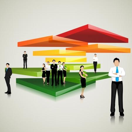 Equipo de negocios de pie sobre la losa de colores