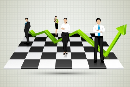 chessboard: Businesspeople with arrow standing on Chessboard