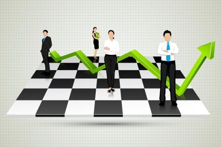 tablero de ajedrez: Empresarios con la flecha de pie en tablero de ajedrez Vectores