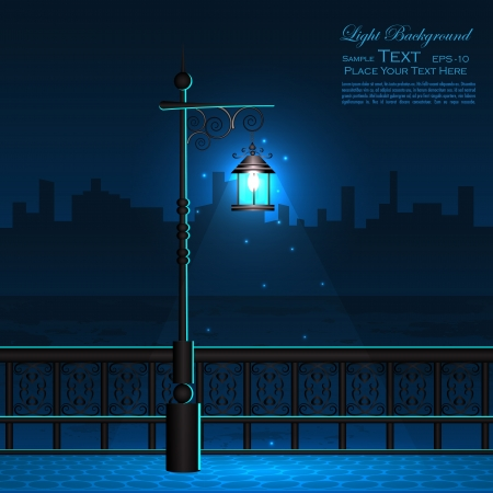 Lamp Post in Night City View Vector