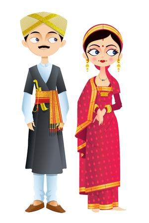 Pares de la boda de Karnataka Ilustración de vector