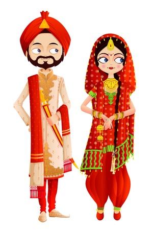 Pares de la boda Sikh Ilustración de vector