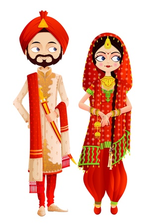 beautiful bride: Sikh Wedding Couple Illustration