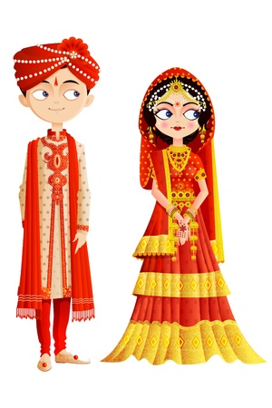 asian bride: Indian Wedding Couple Illustration
