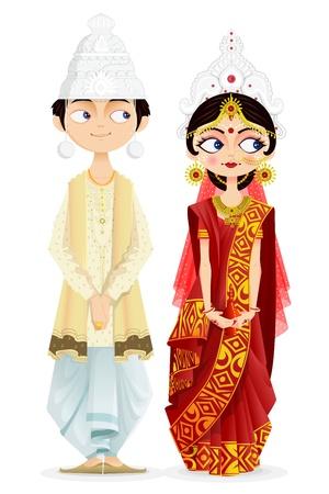 sari: Pares de la boda bengal�