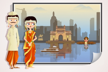 sari: Pares de la boda Maharashtrian