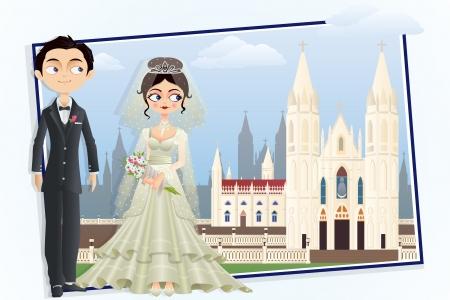 Christian Wedding Couple Vector