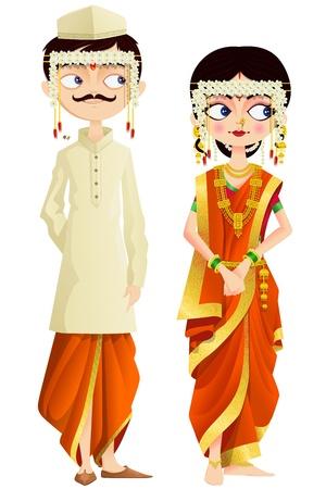 Pares de la boda Maharashtrian
