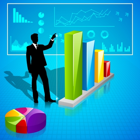 Businessman analysing Statistics Vector