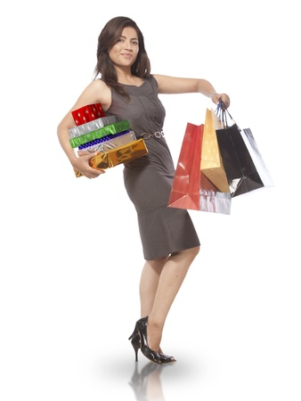 sexy photo: Young Lady with Shopping Bags Stock Photo