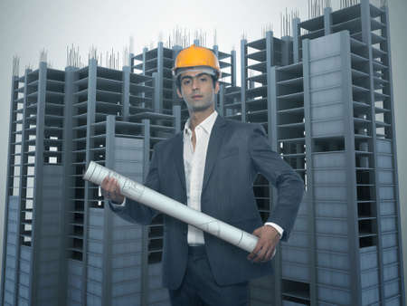 Young Architect with Under constructed Building photo