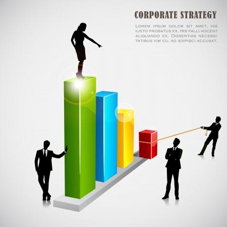 profit and loss: Imprenditori con grafico a barre