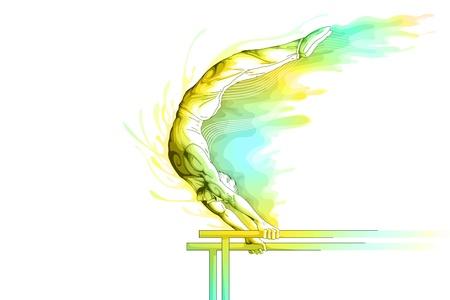 sports bar: Parallel Bar Gymnast Illustration