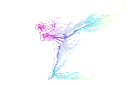 Woman Ice Skater Vector