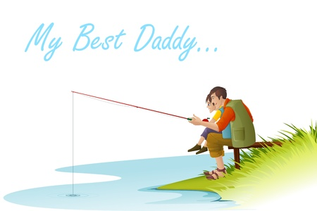 family outside: Father and Son fishing