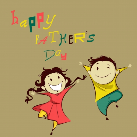 Kids in Happy Father s Day Vector