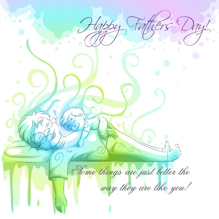 Father and Son sleeping Vector