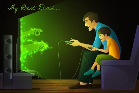 niños jugando videojuegos: Padre e hijo jugando videojuegos Vectores