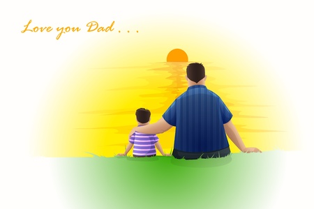 Father and Son sitting at Sunset Vector