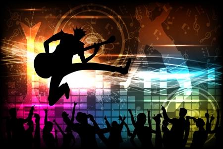 music banner: Man met gitaar spelen Stock Illustratie