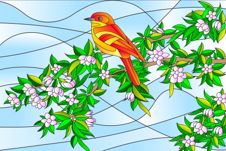 Bird sitting on Tree Stained glass Painting Stock Vector - 20283365