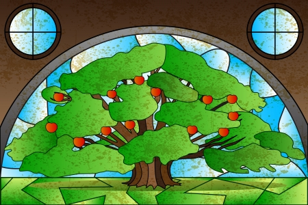 Tree Stained Glass Painting Vector