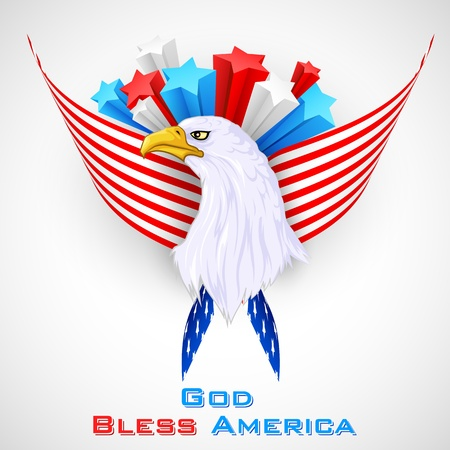 independance: Eagle with American Flag Illustration