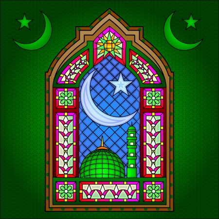 ramadan mubarak card: Islamic Stained Glass Painting Illustration