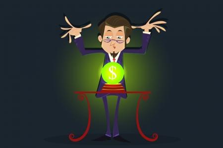 fortune teller: Fortune Teller with Dollar Crystal ball