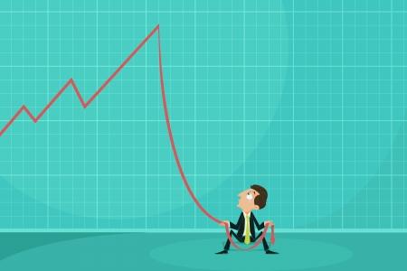 Depressed Businessman holding loss arrow