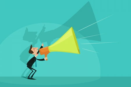 at attention: Businessman announcing through Megaphone Stock Photo