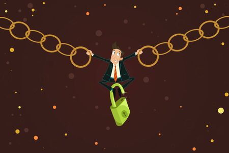 chained: easy to edit vector illustration of businessman holding chain