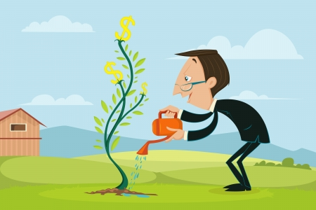 Businessman watering Dollar Plant photo