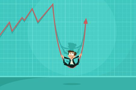 Businessman swinging on Profit Arrow photo