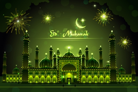 Decorated Mosque on Eid Mubarak Illustration