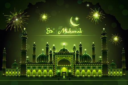 Decorated Mosque on Eid Mubarak Vettoriali