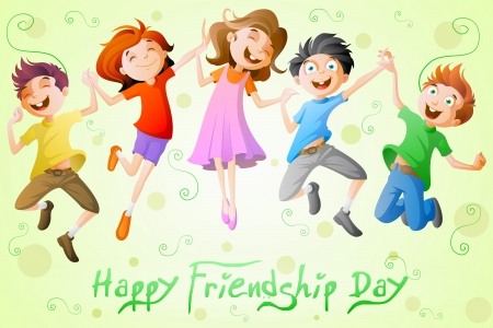 Kids celebrating Friendship Day Vector