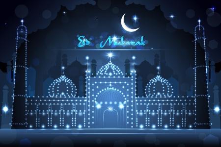 Decorated Mosque on Eid Mubarak Stock Vector - 21611793