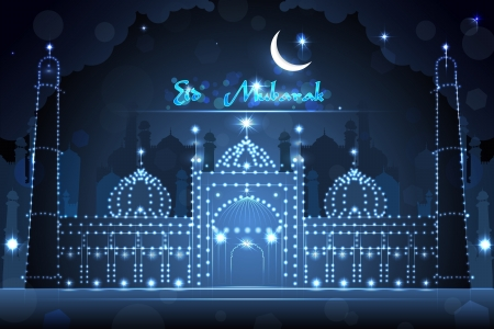 Decorated Mosque on Eid Mubarak Stock Vector - 21611793