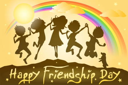 Kids celebrating Friendship Day Vector Illustration