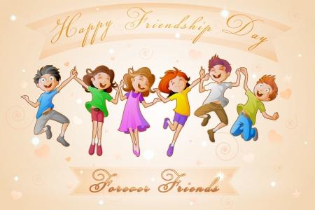 amistad: Niños celebran Día de la Amistad Vectores