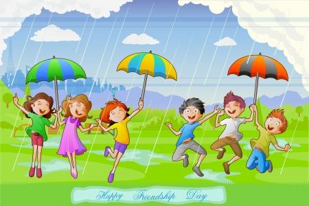 lluvia paraguas: Ni�os celebran D�a de la Amistad Vectores