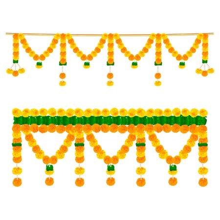 인도 축제에서 장식 꽃 Toran의 벡터 일러스트 레이 션을 쉽게 편집 할 수