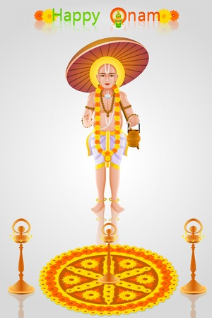 mahabharata: easy to edit vector illustration of King Mahabali in Onam greeting Illustration