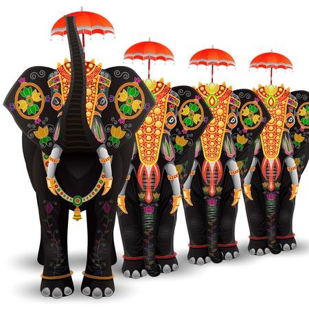 procession: f�cil de editar ilustraci�n vectorial de elefante decorado del sur de la India