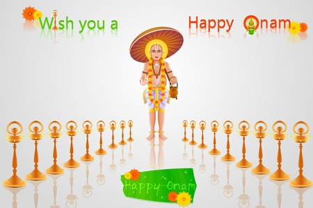 onam: easy to edit vector illustration of King Mahabali in Onam greeting Illustration